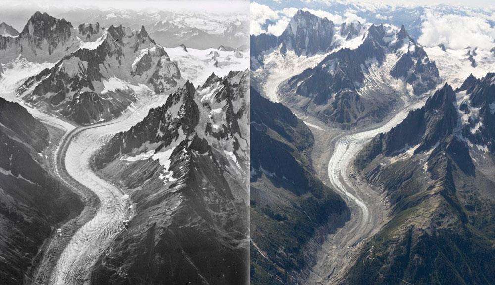 Fotos que ilustran el deshielo a gran escala del Mont Blanc
