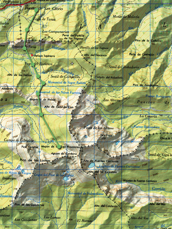 Mapa skimo Mojón de Tres Provincias