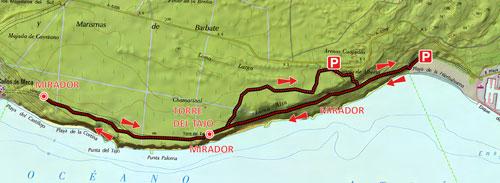 Mapa acantilados de Barbate